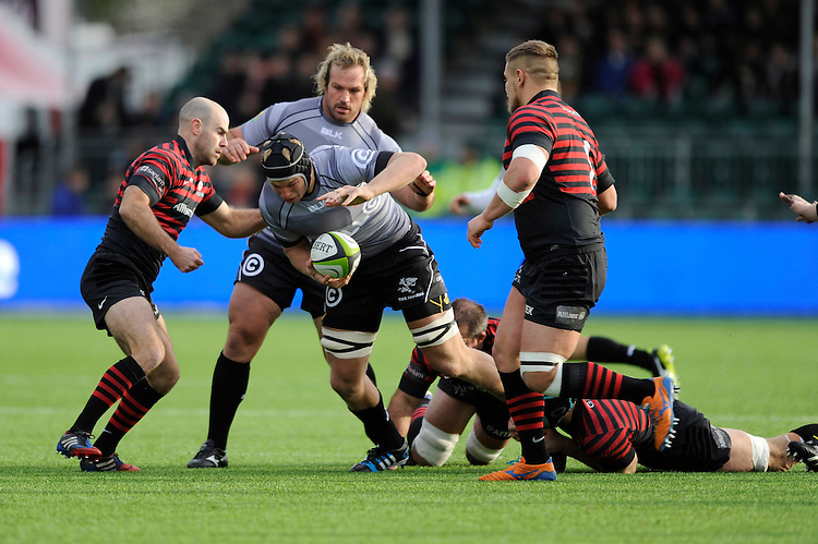 Pieter–Steph du Toit of Sharks in action during the Sanlam Private Investments Shield match between Saracens and the Cell C Sharks at Allianz Park on Saturday 25th January 2014 (Photo by Rob Munro)