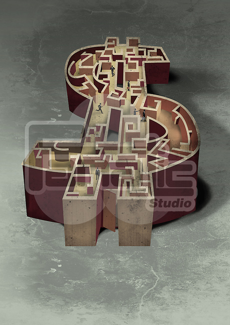 Illustrative image of business people in dollar shaped maze