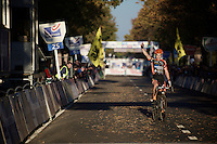 Wout Van Aert (BEL/Vastgoedservice-Golden Palace) takes his (2nd) Koppenberg elite win on this hottest (20°C) november 1st in history (in Belgium)<br /> <br /> Elite Men's race<br /> Koppenbergcross 2015