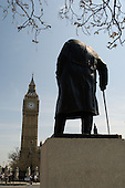 Statue of Winston Churchill in front of Big Ben in Parliament Square, London
