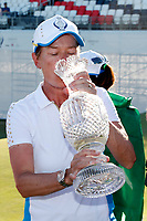 6th September 2021: Toledo, Ohio, USA;  Team Europe captain Catriona Matthews drinks champagne from the Solheim Cup after winning the Solheim Cup on September 6, 2021 at Inverness Club in Toledo, Ohio.   Europe retained the Solheim Cup with a hard-fought 15-13 victory over the United States