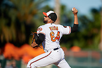 Baltimore Orioles relief pitcher Gabriel Ynoa (64) delivers a pitch during a Grapefruit League Spring Training game against the Detroit Tigers on March 3, 2019 at Ed Smith Stadium in Sarasota, Florida.  Baltimore defeated Detroit 7-5.  (Mike Janes/Four Seam Images)