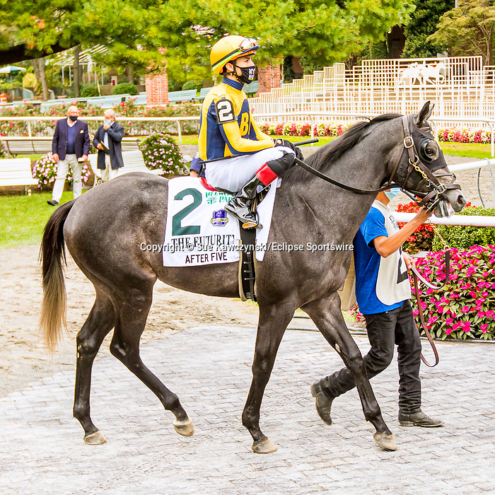 OCT11, 2020 : After Five in the Grade 3 Futruity Stakes, for 2-year olds on the turf, at Belmont Park, Elmont, NY.  Sue Kawczynski/Eclipse Sportswire/CSM