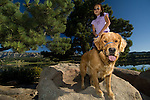 Chinese-American girl with her golden retreiver on a walk, model release #96