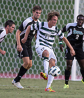 Number 8 ranked Charlotte beats number 16 ranked Coastal Carolina 1-0 on a goal by Thomas Allen in the 101st minute during the second overtime.  Jennings Rex (17), Kjartan Sigurdsson (4)