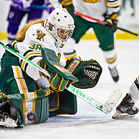 2 February 2020: University of Vermont Catamount Goaltender Natalie Ferenc, a Freshman from Orchard Lake, MI, makes a first period save against the Holy Cross Crusaders at Gutterson Fieldhouse in Burlington, Vermont. The Lady Cats rallied in the 3rd period to tie the Crusaders 2-2 in NCAA Women's Hockey East play. Mandatory Credit: Ed Wolfstein Photo *** RAW (NEF) Image File Available ***