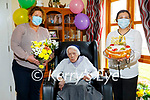 Sister Borgia Shannon celebrating her 100th birthday with the staff of the Sonas Ashborough Nursing Home in Milltown on Tuesday.  L to r: Miriam Harty, Sister Borgia Shannon and Sheilah Climaco.