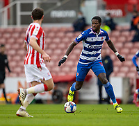 6th February 2021; Bet365 Stadium, Stoke, Staffordshire, England; English Football League Championship Football, Stoke City versus Reading; Lucas Joao of Reading looks to pass the ball