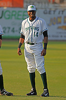 Daytona Tortugas outfielder Junior Arias (14) before a game against the Clearwater Threshers at Radiology Associates Field at Jackie Robinson Ballpark on May 9, 2015 in Daytona, Florida. Clearwater defeated Daytona 7-0. (Robert Gurganus/Four Seam Images)