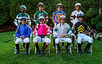June 5, 2021: Jockeys pose for a group photo before the running of the Belmont Stakes on Belmont Stakes Day at Belmont Park in Elmont, New York. Scott Serio/Eclipse Sportswire/CSM