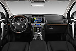 Stock photo of straight dashboard view of a 2018 Toyota Landcruiser Premium 5 Door SUV