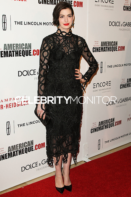 BEVERLY HILLS, CA, USA - OCTOBER 21: Anne Hathaway arrives at the 28th American Cinematheque Award Honoring Matthew McConaughey held at The Beverly Hilton Hotel on October 21, 2014 in Beverly Hills, California, United States. (Photo by Celebrity Monitor)