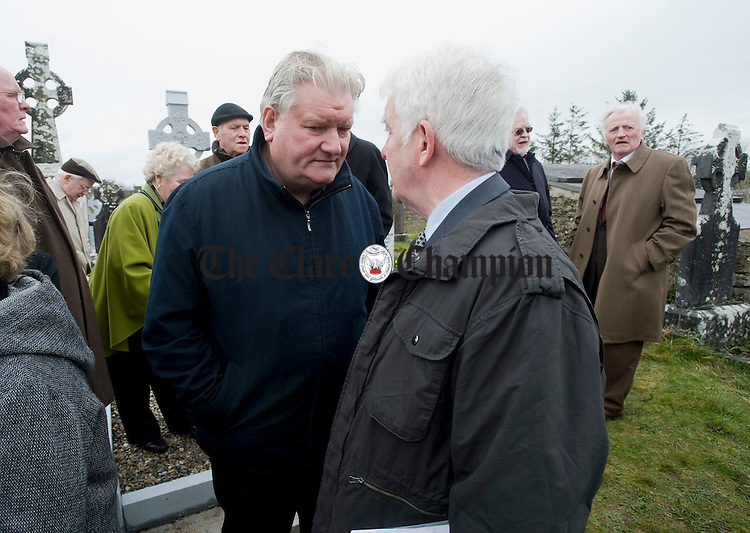 Des Geraghty of SIPTU with Mick O Connor at the funeral of Joe Ryan in Inagh. Photograph by John Kelly.