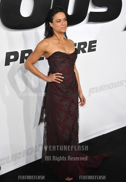 """Michelle Rodriguez at the world premiere of her movie """"Furious 7"""" at the TCL Chinese Theatre, Hollywood.<br /> April 1, 2015  Los Angeles, CA<br /> Picture: Paul Smith / Featureflash"""