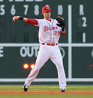 July 29, 2009: Casey Kelly (23) of the Greenville Drive, a top Boston Red Sox pitching prospect and a first-half South Atlantic League All-Star, is now playing shortstop in a deal worked out with the Sox before the season began. He'll finish the season as an infielder. Here he plays in a game at Fluor Field at the West End in Greenville, S.C. Photo by: Tom Priddy/Four Seam Images