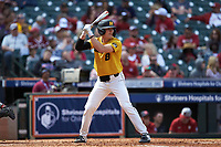 Seth Halvorsen (8) of the Missouri Tigers at bat against the Oklahoma Sooners in game four of the 2020 Shriners Hospitals for Children College Classic at Minute Maid Park on February 29, 2020 in Houston, Texas. The Tigers defeated the Sooners 8-7. (Brian Westerholt/Four Seam Images)