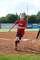 Young Batavia Muckdogs fans run the bases after a game against the West Virginia Black Bears on June 25, 2017 at Dwyer Stadium in Batavia, New York.  Batavia defeated West Virginia 4-1 in nine innings of a scheduled seven inning game.  (Mike Janes/Four Seam Images)