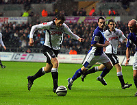 ATTENTION SPORTS PICTURE DESK<br /> Pictured: Angel Rangel of Swansea City in action <br /> Re: Coca Cola Championship, Swansea City Football Club v Leicester City at the Liberty Stadium, Swansea, south Wales. Saturday 16 January 2010