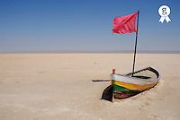 Tunisia, Chott el Jerid, abandoned rowboat in dry salt lake (Licence this image exclusively with Getty: http://www.gettyimages.com/detail/sb10065474ct-001 )