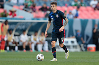 DENVER, CO - JUNE 3: Christian Pulisic #10 of the United States looks for an open man during a game between Honduras and USMNT at EMPOWER FIELD AT MILE HIGH on June 3, 2021 in Denver, Colorado.