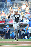 Luis Campusano-Bracero (6) of the East Team during a game against the West Team during the Perfect Game All American Classic at Petco Park on August 14, 2016 in San Diego, California. West Team defeated the East Team, 13-0. (Larry Goren/Four Seam Images)