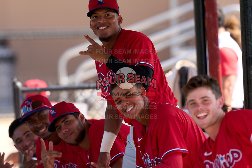 Philadelphia Phillies /STPHIsxxxx#2/ during an Extended Spring Training game against the Toronto Blue Jays on June 12, 2021 at the Carpenter Complex in Clearwater, Florida. (Mike Janes/Four Seam Images)