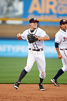 Mississippi Braves second baseman Corban Joseph (2) throws to first during a game against the Pensacola Blue Wahoos on May 27, 2015 at Trustmark Park in Pearl, Mississippi.  Pensacola defeated Mississippi 7-5 in fourteen innings.  (Mike Janes/Four Seam Images)