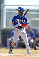 Texas Rangers outfielder Darius Day (60) during an Instructional League game against the Cincinnati Reds on October 3, 2014 at Surprise Stadium Training Complex in Surprise, Arizona.  (Mike Janes/Four Seam Images)