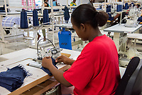 Haiti, Port-au-Prince, people working in garment factory for the non-profit Life.
