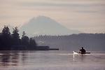 Seattle; Lake Washington; Mount Rainier; Sea kayaker, Bellevue,  Washington State; Pacific Northwest;