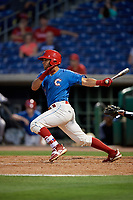 Clearwater Threshers Jake Scheiner (7) bats during a Florida State League game against the Tampa Tarpons on April 18, 2019 at Spectrum Field in Clearwater, Florida.  Clearwater defeated Tampa 10-3.  (Mike Janes/Four Seam Images)
