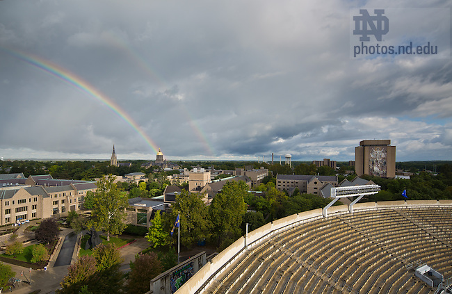 Sept. 21, 2013; A rainbow appears over campus on a football game day morning.<br /> <br /> Photo by Matt Cashore