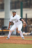 Charlotte 49ers relief pitcher Logan Sherer (25) in action against the Akron Zips at Hayes Stadium on February 22, 2015 in Charlotte, North Carolina.  The Zips defeated the 49ers 5-4.  (Brian Westerholt/Four Seam Images)