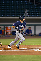 AZL Padres 2 center fielder Tirso Ornelas (33) follows through on his swing against the AZL Cubs on August 28, 2017 at Sloan Park in Mesa, Arizona. AZL Cubs defeated the AZL Padres 2 9-4. (Zachary Lucy/Four Seam Images)