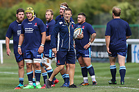 Graham Steadman of London Scottish (centre) during the Greene King IPA Championship match between London Scottish Football Club and Ealing Trailfinders at Richmond Athletic Ground, Richmond, United Kingdom on 8 September 2018. Photo by David Horn.