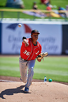 Albuquerque Isotopes starting pitcher Yency Almonte (36) throws in the bullpen before the game against the Salt Lake Bees at Smith's Ballpark on April 22, 2018 in Salt Lake City, Utah. The Bees defeated the Isotopes 11-9. (Stephen Smith/Four Seam Images)