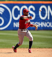 Lehigh Valley IronPigs shortstop Andres Blanco #5 throws to first during a game against the Buffalo Bisons at Coca-Cola Field on April 19, 2012 in Buffalo, New York.  Lehigh Valley defeated Buffalo 8-4.  (Mike Janes/Four Seam Images)