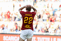 Roma's Nicolo' Zaniolo dejects at the end of the Serie A soccer matchbetween Roma and Cagliari at Rome's Olympic Stadium, October 6, 2019. Roma and Cagliari drawed 1-1. UPDATE IMAGES PRESS/ Riccardo De Luca