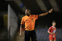 Referee Franck Tanko pictured during a female soccer game between FC Femina White Star Woluwe and Eendracht Aalst on the sixth matchday in the 2021 - 2022 season of Belgian Scooore Womens Super League , friday 8 th of october 2021  in Woluwe , Belgium . PHOTO SPORTPIX | KRISTOF DE MOOR