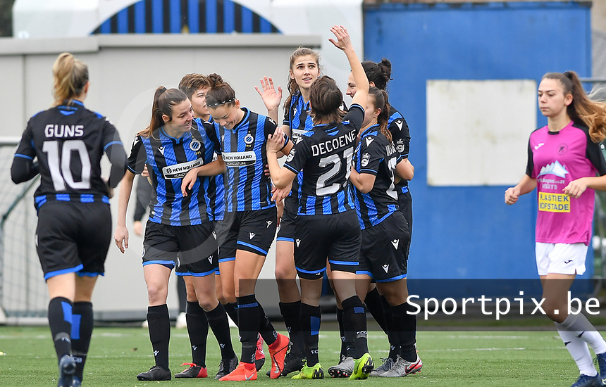 Brugge's players celebrate after scoring a goal during a female soccer game between Club Brugge Dames YLA and Eendracht Aalst Ladies on the 9 th matchday of the 2020 - 2021 season of Belgian Scooore Womens Super League , saturday 12 December 2020  in Brugge , Belgium . PHOTO SPORTPIX.BE | SPP | DAVID CATRY