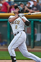 Josh Rutledge (8) of the Salt Lake Bees at bat against the Reno Aces in Pacific Coast League action at Smith's Ballpark on July 18, 2015 in Salt Lake City, Utah. The Bees defeated the Aces 6-4. (Stephen Smith/Four Seam Images)
