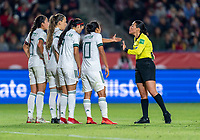 CARSON, CA - FEBRUARY 7: Stephany Mayor #10 of Mexico talks with the referee during a game between Mexico and USWNT at Dignity Health Sports Park on February 7, 2020 in Carson, California.