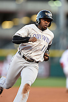 Louisville Bats outfielder Jason Bourgeois (11) runs the bases during a game against the Buffalo Bisons on April 29, 2014 at Coca-Cola Field in Buffalo, New  York.  Buffalo defeated Louisville 4-1.  (Mike Janes/Four Seam Images)
