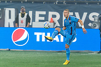 FOXBOROUGH, MA - SEPTEMBER 02: Anton Tinnerholm #3 of New York City FC traps the ball during a game between New York City FC and New England Revolution at Gillette Stadium on September 02, 2020 in Foxborough, Massachusetts.