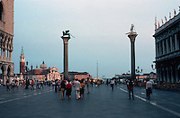 Venice:  piazzetta San Marco in evening--looking towards jetty.  Photo '83.