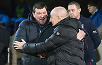 St Johnstone v Rangers…28.12.16     McDiarmid Park    SPFL<br />Tommy Wright and Mark Warburton before kick off<br />Picture by Graeme Hart.<br />Copyright Perthshire Picture Agency<br />Tel: 01738 623350  Mobile: 07990 594431