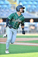 Greensboro Grasshoppers Nick Gonzales (2) runs to first base during a game against the Asheville Tourists on August 24, 2021 at McCormick Field in Asheville, NC. (Tony Farlow/Four Seam Images)