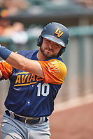 Nate Mondou (10) of the Las Vegas Aviators on deck against the Salt Lake Bees at Smith's Ballpark on July 25, 2021 in Salt Lake City, Utah. The Aviators defeated the Bees 10-6. (Stephen Smith/Four Seam Images)