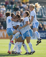 The Chicago Red Stars celebrate after a goal scored in the second half by Cristiane (second from left). FC Gold Pride and Chicago Red Stars tied 1-1 at Buck Shaw Stadium in Santa Clara, California on June 7, 2009.