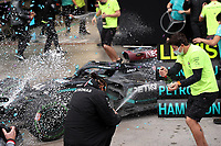 15th November 2020; Istanbul Park, Istanbul, Turkey; FIA Formula One World Championship 2020, Grand Prix of Turkey, Race Day; Mercedes team photo with the winner and new world champion Lewis Hamilton GB 44 , Mercedes AMG Petronas F1 Team, Valtteri Bottas FIN 77 , Mercedes AMG Petronas F1 Team